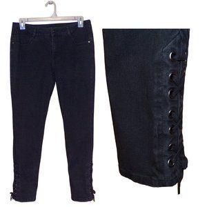 Signature Studio Lace-Up Hem Skinny Jeans
